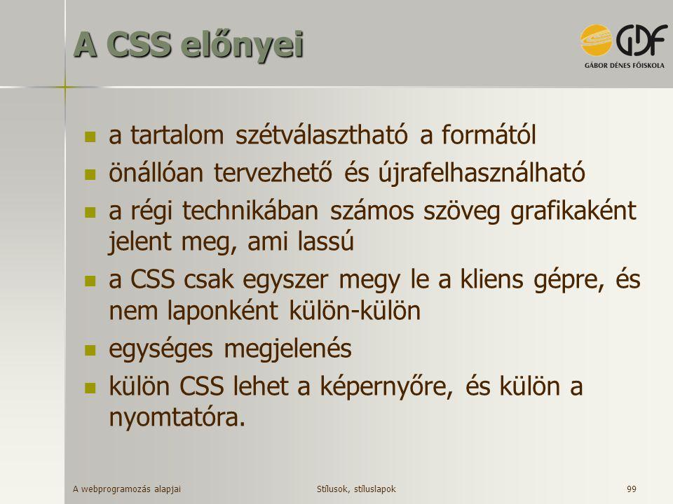 A webprogramozás alapjai 99 A CSS előnyei a tartalom szétválasztható a formától önállóan tervezhető és újrafelhasználható a régi technikában számos sz