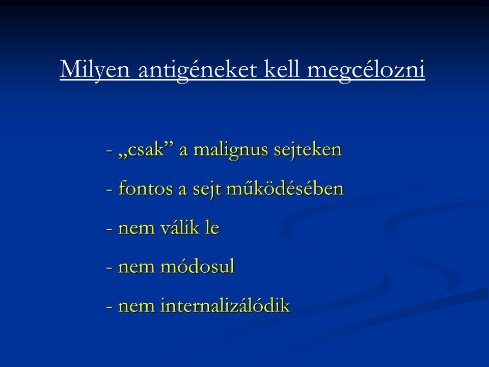 """Milyen antigéneket kell megcélozni - """"csak"""" a malignus sejteken - fontos a sejt működésében - nem válik le - nem módosul - nem internalizálódik"""