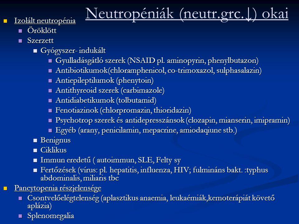 Neutropéniák (neutr.grc.↓) okai Izolált neutropénia Izolált neutropénia Öröklött Öröklött Szerzett Szerzett Gyógyszer- indukált Gyógyszer- indukált Gy