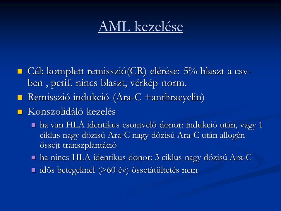AML kezelése Cél: komplett remisszió(CR) elérése: 5% blaszt a csv- ben, perif. nincs blaszt, vérkép norm. Cél: komplett remisszió(CR) elérése: 5% blas