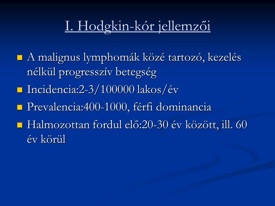 I. Hodgkin-kór jellemzői A malignus lymphomák közé tartozó, kezelés nélkül progresszív betegség A malignus lymphomák közé tartozó, kezelés nélkül prog