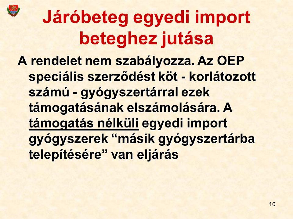 10 Járóbeteg egyedi import beteghez jutása A rendelet nem szabályozza. Az OEP speciális szerződést köt - korlátozott számú - gyógyszertárral ezek támo
