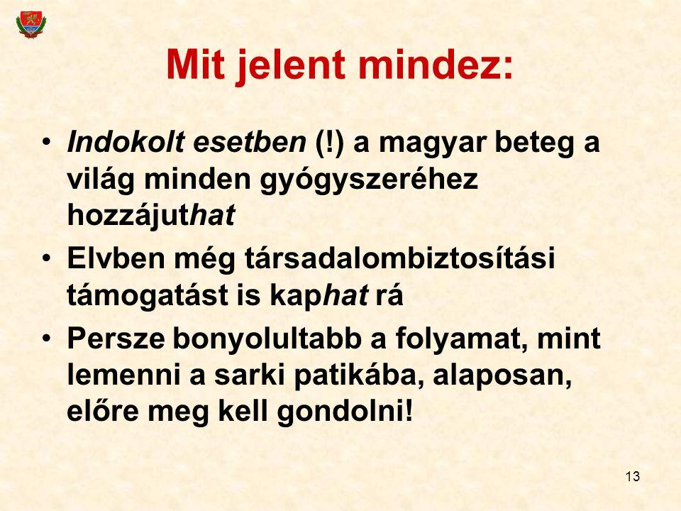 13 Mit jelent mindez: Indokolt esetben (!) a magyar beteg a világ minden gyógyszeréhez hozzájuthat Elvben még társadalombiztosítási támogatást is kaph