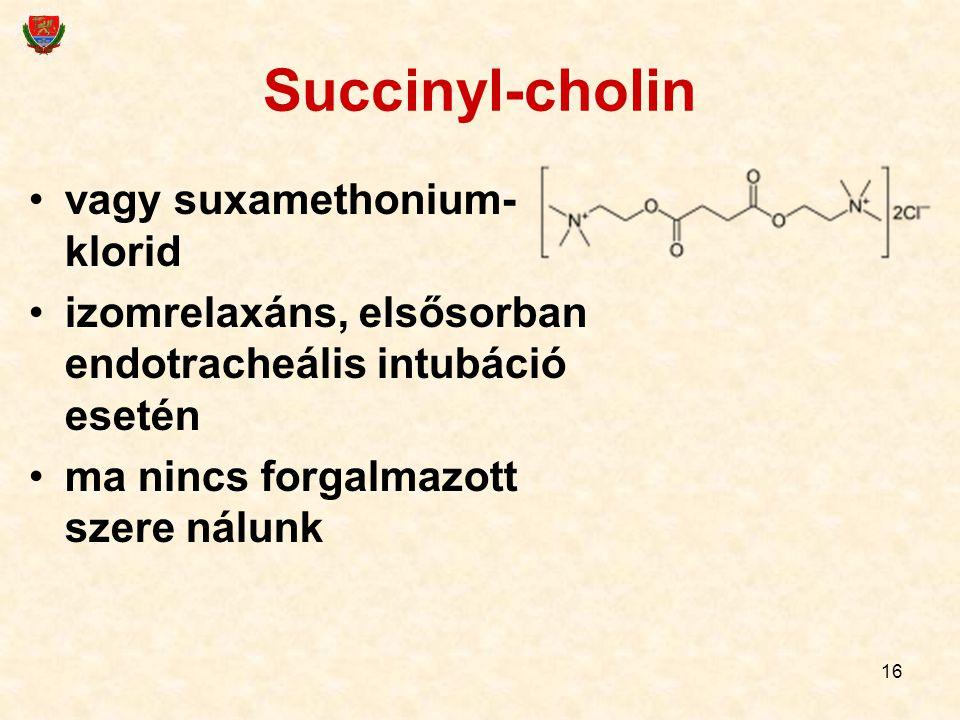 16 Succinyl-cholin vagy suxamethonium- klorid izomrelaxáns, elsősorban endotracheális intubáció esetén ma nincs forgalmazott szere nálunk
