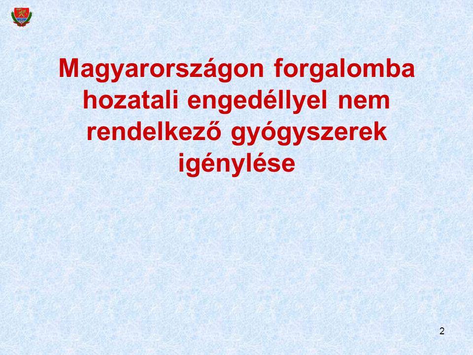 2 Magyarországon forgalomba hozatali engedéllyel nem rendelkező gyógyszerek igénylése
