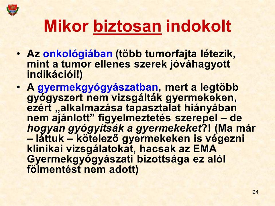 24 Mikor biztosan indokolt Az onkológiában (több tumorfajta létezik, mint a tumor ellenes szerek jóváhagyott indikációi!) A gyermekgyógyászatban, mert