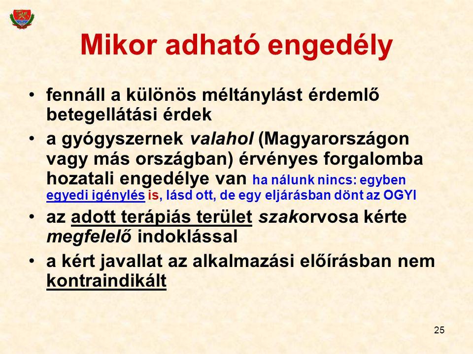 25 Mikor adható engedély fennáll a különös méltánylást érdemlő betegellátási érdek a gyógyszernek valahol (Magyarországon vagy más országban) érvényes