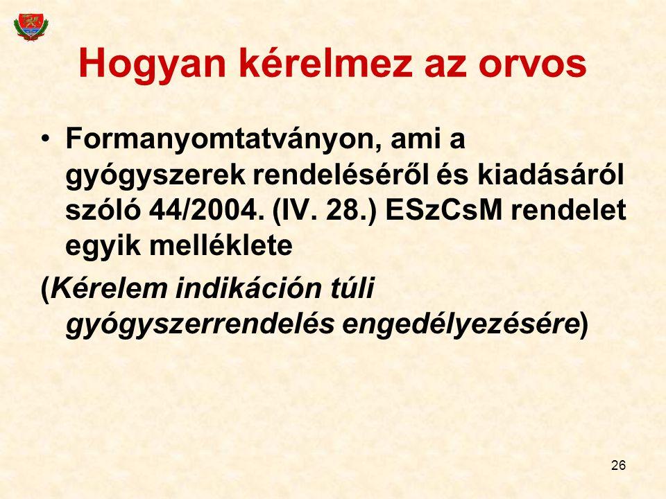 26 Hogyan kérelmez az orvos Formanyomtatványon, ami a gyógyszerek rendeléséről és kiadásáról szóló 44/2004. (IV. 28.) ESzCsM rendelet egyik melléklete