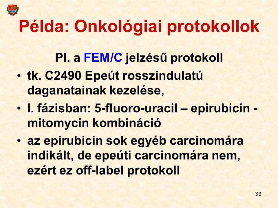 33 Példa: Onkológiai protokollok Pl. a FEM/C jelzésű protokoll tk. C2490 Epeút rosszindulatú daganatainak kezelése, I. fázisban: 5-fluoro-uracil – epi