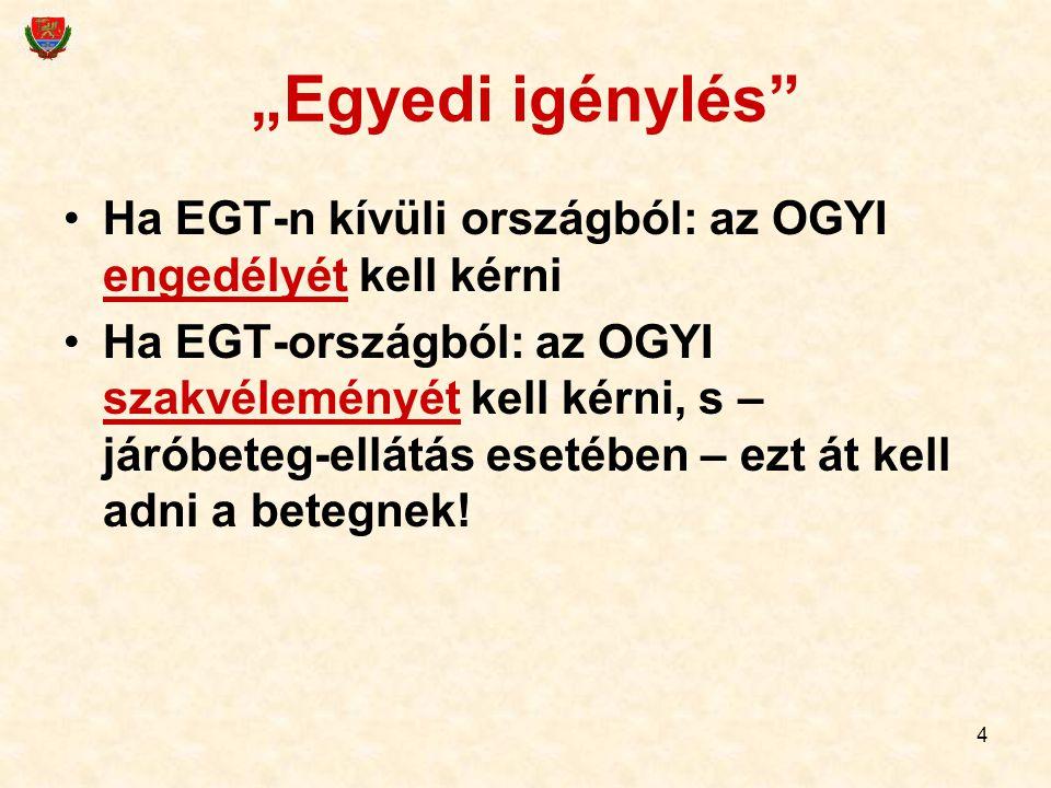 """4 """"Egyedi igénylés"""" Ha EGT-n kívüli országból: az OGYI engedélyét kell kérni Ha EGT-országból: az OGYI szakvéleményét kell kérni, s – járóbeteg-ellátá"""