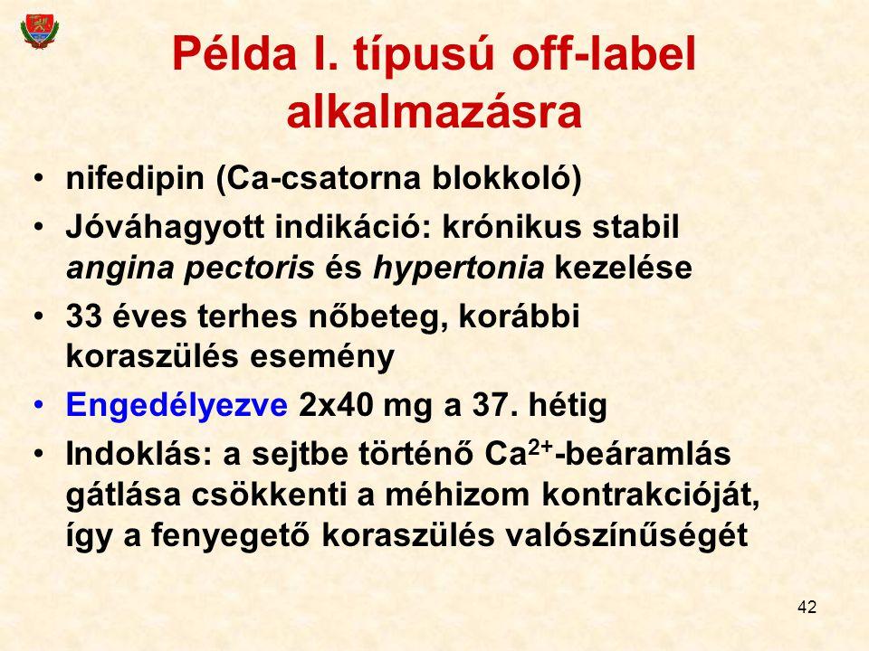 42 Példa I. típusú off-label alkalmazásra nifedipin (Ca-csatorna blokkoló) Jóváhagyott indikáció: krónikus stabil angina pectoris és hypertonia kezelé