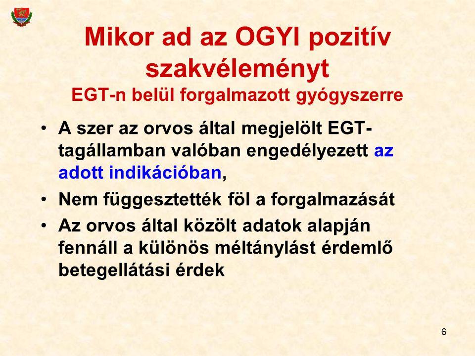 6 Mikor ad az OGYI pozitív szakvéleményt EGT-n belül forgalmazott gyógyszerre A szer az orvos által megjelölt EGT- tagállamban valóban engedélyezett a