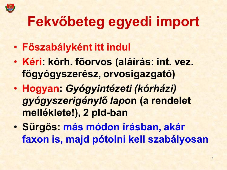 7 Fekvőbeteg egyedi import Főszabályként itt indul Kéri: kórh. főorvos (aláírás: int. vez. főgyógyszerész, orvosigazgató) Hogyan: Gyógyintézeti (kórhá