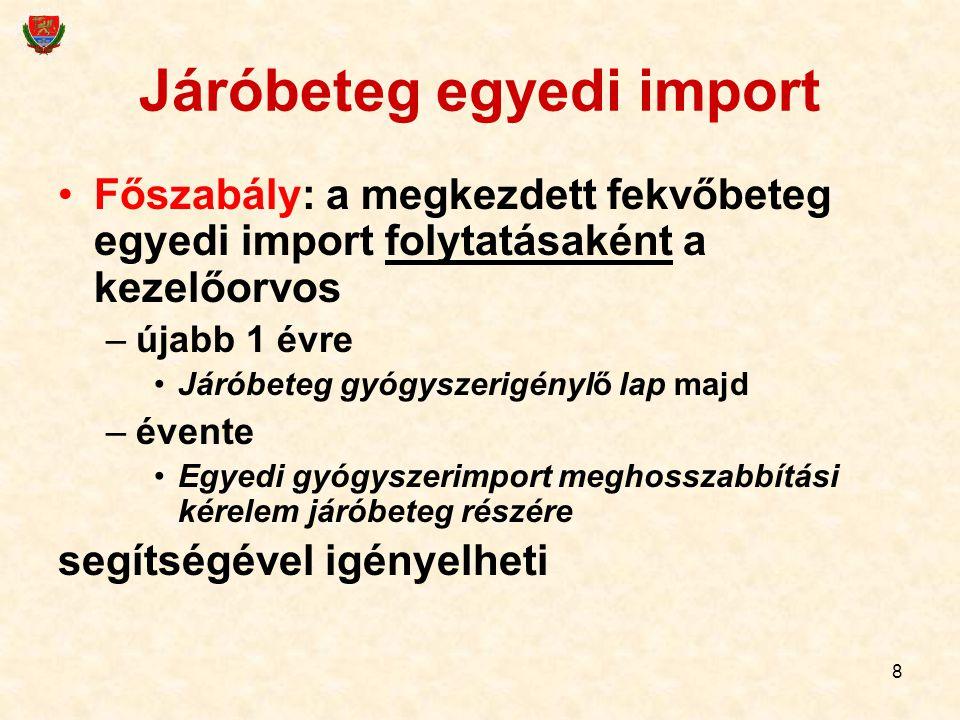 8 Járóbeteg egyedi import Főszabály: a megkezdett fekvőbeteg egyedi import folytatásaként a kezelőorvos –újabb 1 évre Járóbeteg gyógyszerigénylő lap m