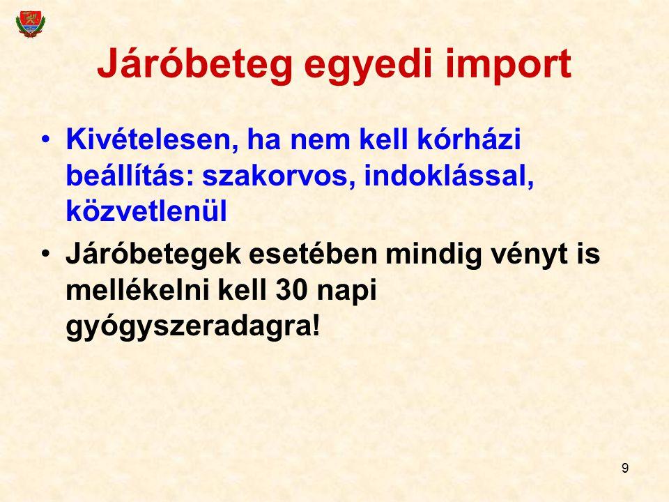 9 Járóbeteg egyedi import Kivételesen, ha nem kell kórházi beállítás: szakorvos, indoklással, közvetlenül Járóbetegek esetében mindig vényt is melléke