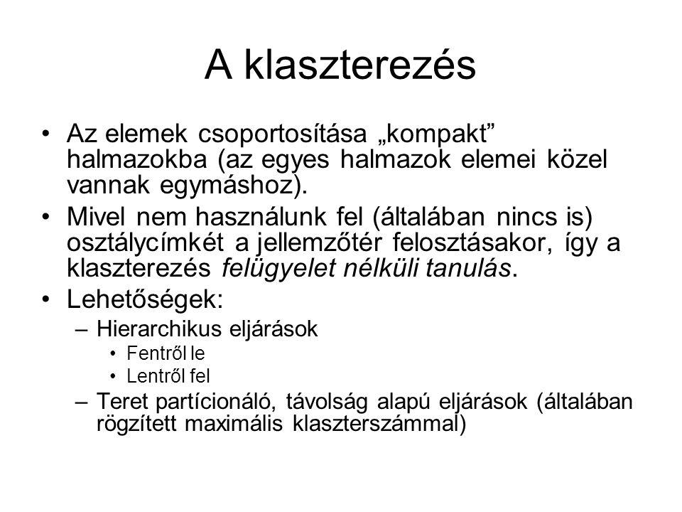 """Dendogram (""""evolúciós fa ): k=1-ig kell klaszterezni, az egymással egyesített klaszterek lesznek a fában az elágazások."""