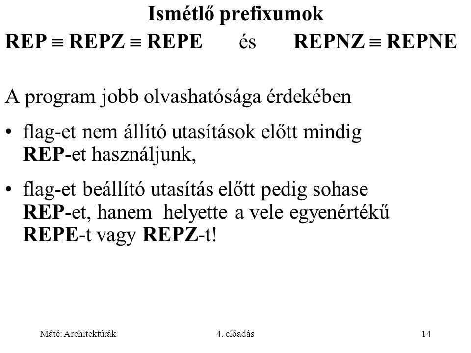 Máté: Architektúrák4. előadás14 Ismétlő prefixumok REP  REPZ  REPE és REPNZ  REPNE A program jobb olvashatósága érdekében flag-et nem állító utasít