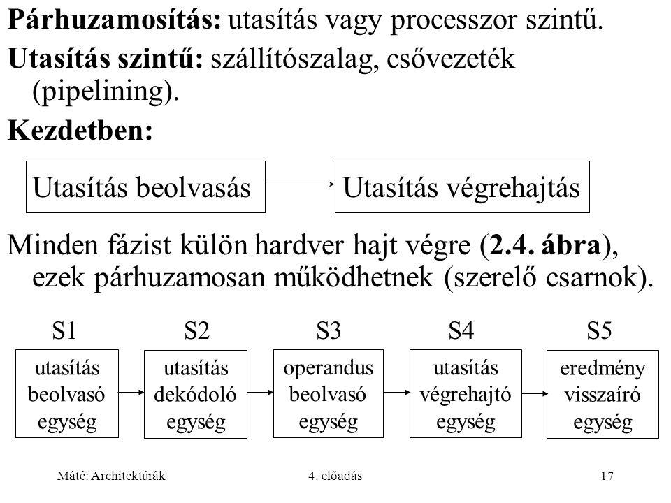 Máté: Architektúrák4. előadás17 Párhuzamosítás: utasítás vagy processzor szintű. Utasítás szintű: szállítószalag, csővezeték (pipelining). Kezdetben: