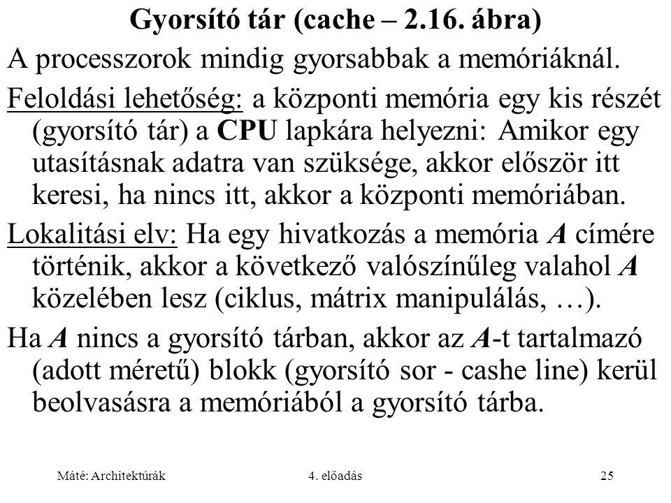Máté: Architektúrák4. előadás25 Gyorsító tár (cache – 2.16.