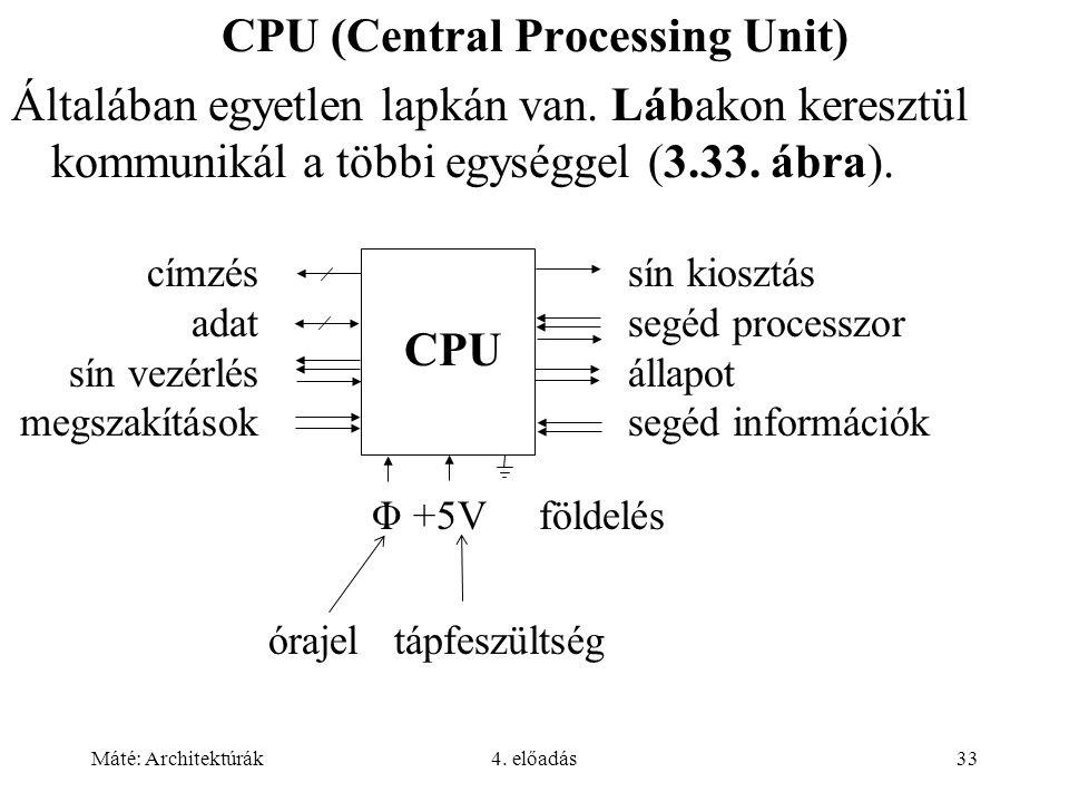 Máté: Architektúrák4. előadás33 CPU (Central Processing Unit) Általában egyetlen lapkán van. Lábakon keresztül kommunikál a többi egységgel (3.33. ábr
