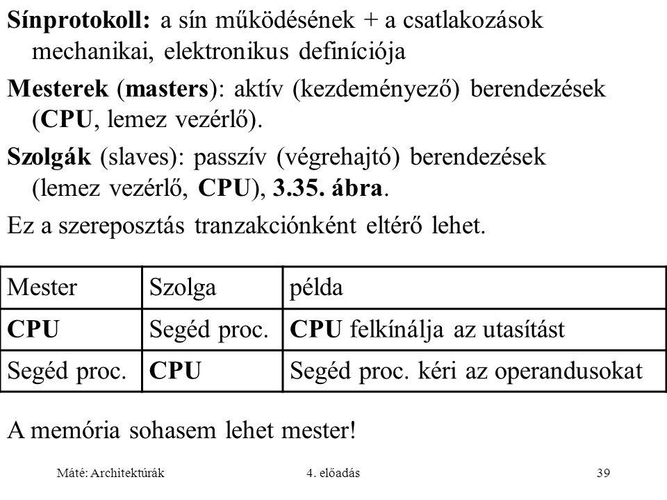 Máté: Architektúrák4. előadás39 Sínprotokoll: a sín működésének + a csatlakozások mechanikai, elektronikus definíciója Mesterek (masters): aktív (kezd