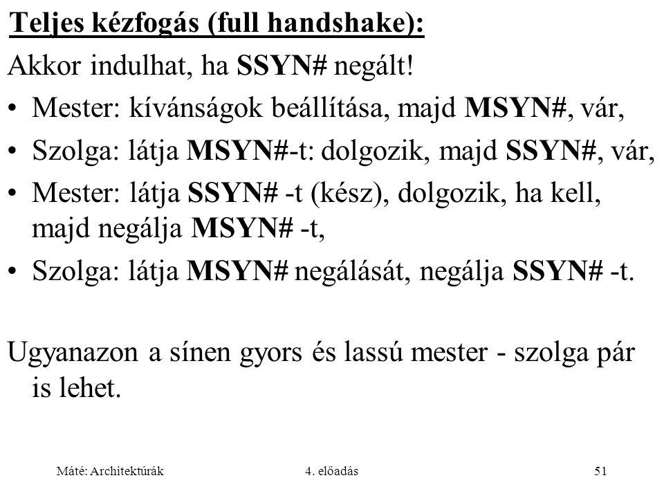 Máté: Architektúrák4. előadás51 Teljes kézfogás (full handshake): Akkor indulhat, ha SSYN# negált! Mester: kívánságok beállítása, majd MSYN#, vár, Szo
