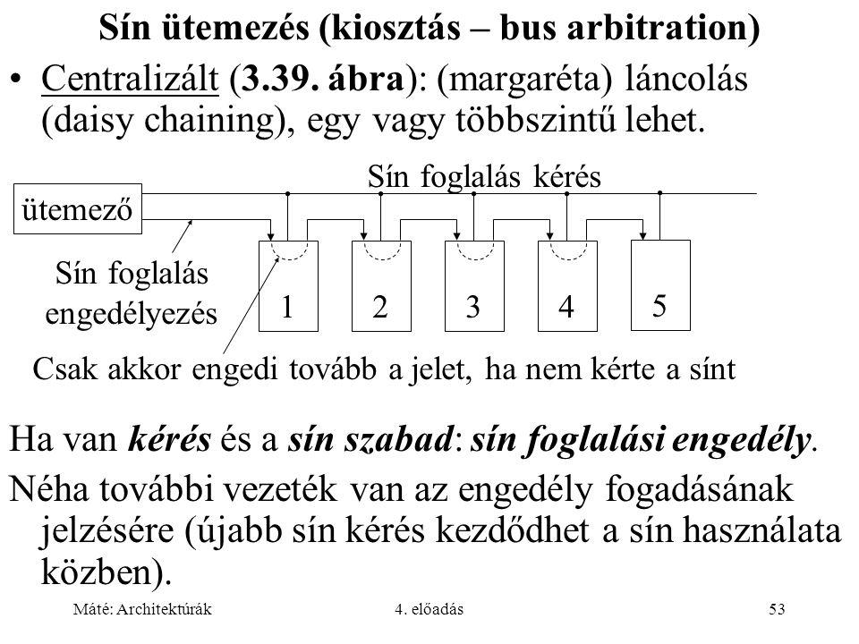 Máté: Architektúrák4. előadás53 Sín ütemezés (kiosztás – bus arbitration) Centralizált (3.39. ábra): (margaréta) láncolás (daisy chaining), egy vagy t