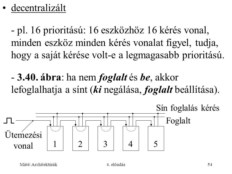 Máté: Architektúrák4. előadás54 decentralizált - pl. 16 prioritású: 16 eszközhöz 16 kérés vonal, minden eszköz minden kérés vonalat figyel, tudja, hog
