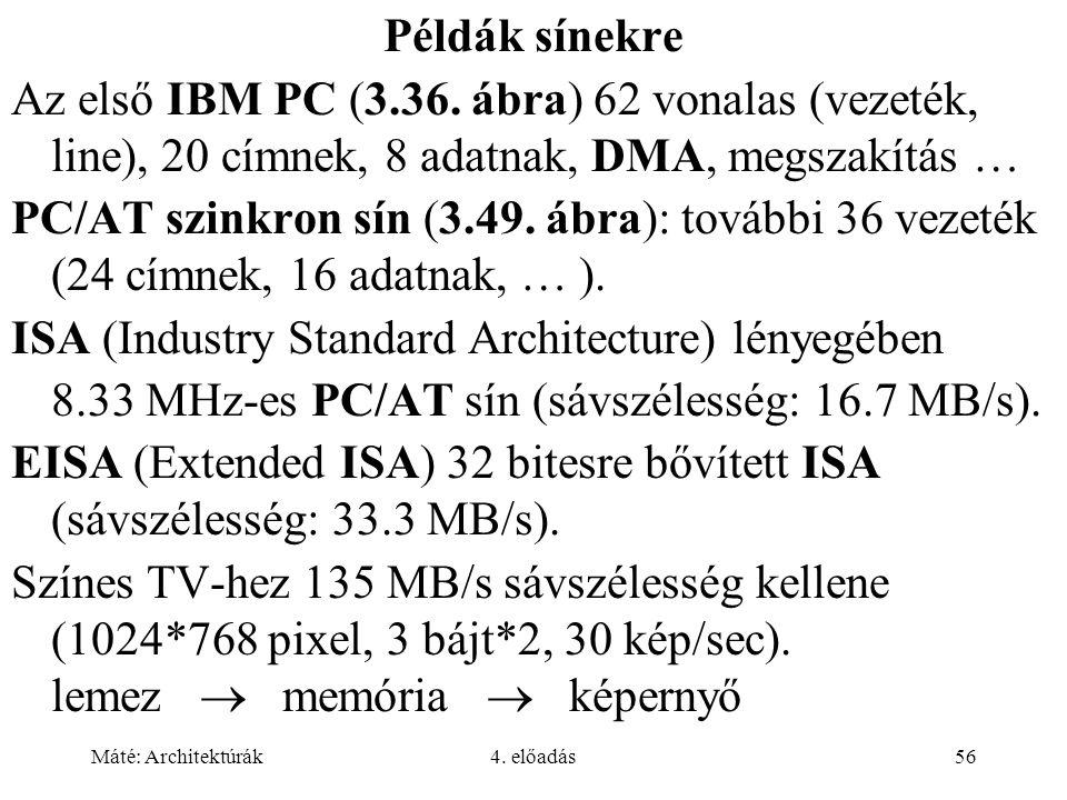 Máté: Architektúrák4. előadás56 Példák sínekre Az első IBM PC (3.36. ábra) 62 vonalas (vezeték, line), 20 címnek, 8 adatnak, DMA, megszakítás … PC/AT