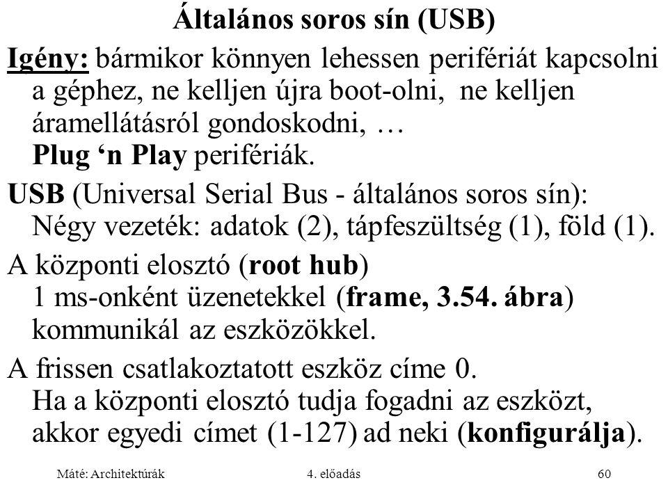Máté: Architektúrák4. előadás60 Általános soros sín (USB) Igény: bármikor könnyen lehessen perifériát kapcsolni a géphez, ne kelljen újra boot-olni, n