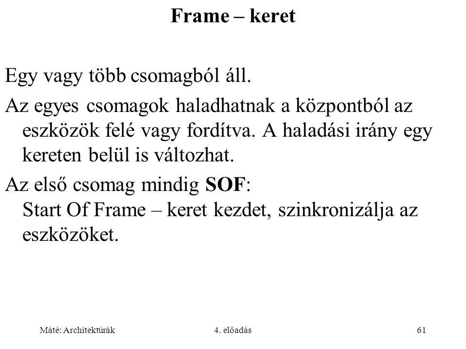 Máté: Architektúrák4. előadás61 Frame – keret Egy vagy több csomagból áll. Az egyes csomagok haladhatnak a központból az eszközök felé vagy fordítva.