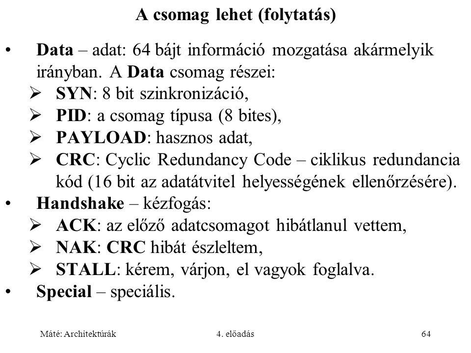 Máté: Architektúrák4. előadás64 A csomag lehet (folytatás) Data – adat: 64 bájt információ mozgatása akármelyik irányban. A Data csomag részei:  SYN: