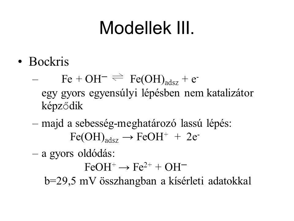 Modellek III. Bockris – Fe + OH ─ Fe(OH) adsz + e - egy gyors egyensúlyi lépésben nem katalizátor képz ő dik –majd a sebesség-meghatározó lassú lépés: