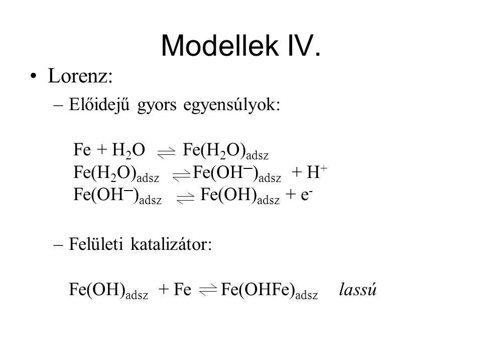 Modellek IV. Lorenz: –Előidejű gyors egyensúlyok: Fe + H 2 O Fe(H 2 O) adsz Fe(H 2 O) adsz Fe(OH ─ ) adsz + H + Fe(OH ─ ) adsz Fe(OH) adsz + e - –Felü