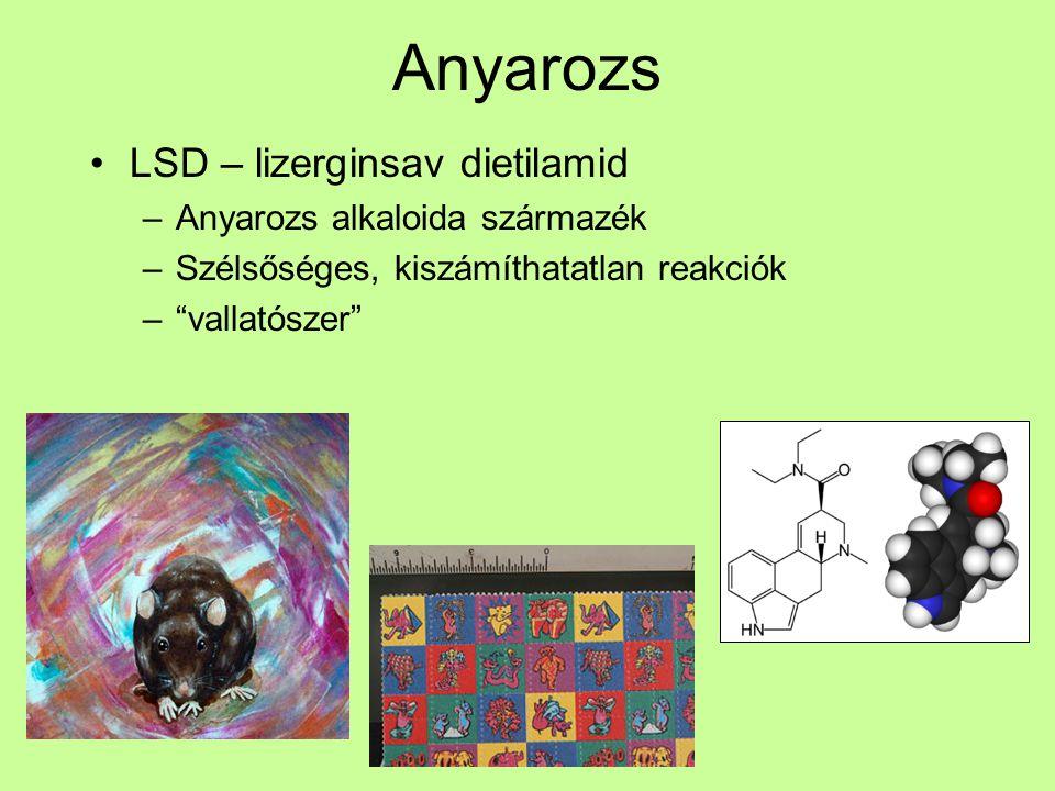 """Anyarozs LSD – lizerginsav dietilamid –Anyarozs alkaloida származék –Szélsőséges, kiszámíthatatlan reakciók –""""vallatószer"""""""