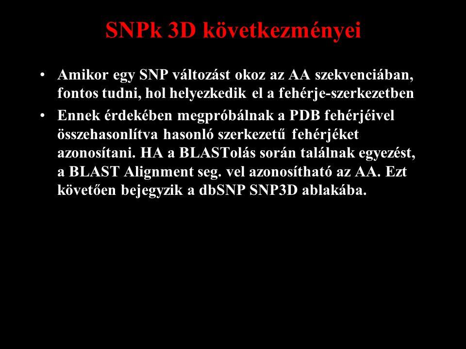 SNPk 3D következményei Amikor egy SNP változást okoz az AA szekvenciában, fontos tudni, hol helyezkedik el a fehérje-szerkezetben Ennek érdekében megpróbálnak a PDB fehérjéivel összehasonlítva hasonló szerkezetű fehérjéket azonosítani.