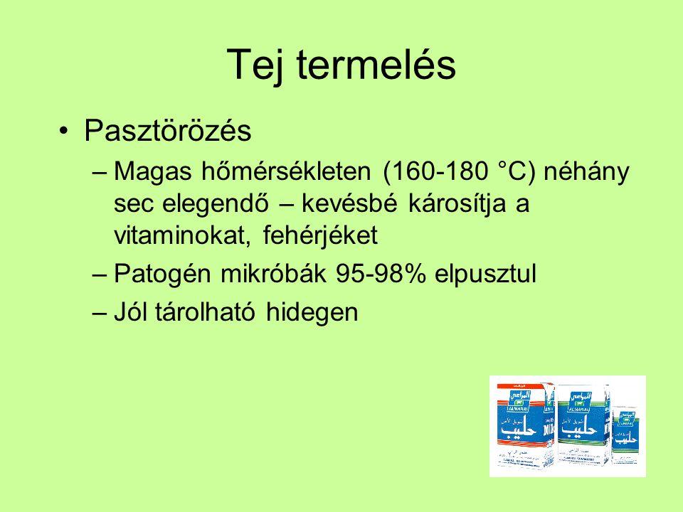 Tej termelés Pasztörözés –Magas hőmérsékleten (160-180 °C) néhány sec elegendő – kevésbé károsítja a vitaminokat, fehérjéket –Patogén mikróbák 95-98%