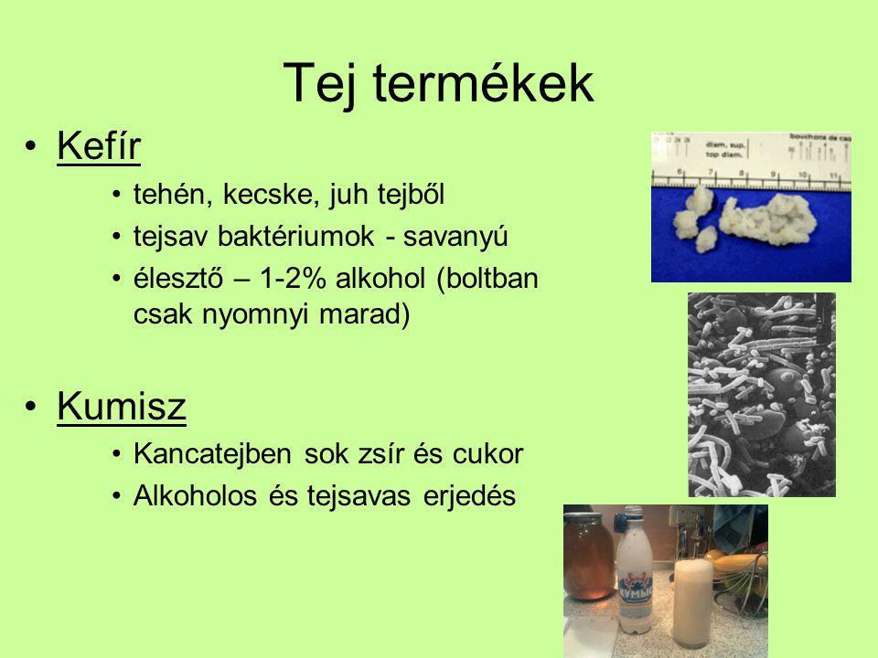 Tej termékek Kefír tehén, kecske, juh tejből tejsav baktériumok - savanyú élesztő – 1-2% alkohol (boltban csak nyomnyi marad) Kumisz Kancatejben sok z