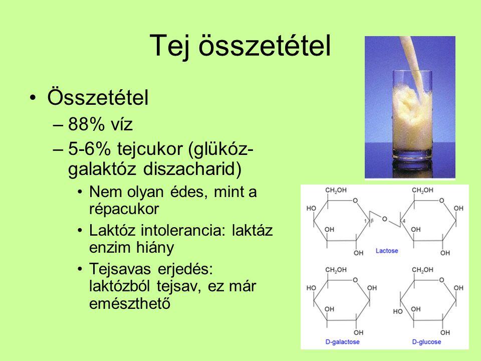 Tej összetétel Összetétel –88% víz –5-6% tejcukor (glükóz- galaktóz diszacharid) Nem olyan édes, mint a répacukor Laktóz intolerancia: laktáz enzim hi