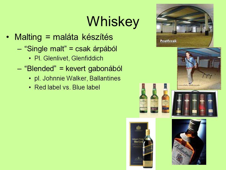 """Whiskey Malting = maláta készítés –""""Single malt"""" = csak árpából Pl. Glenlivet, Glenfiddich –""""Blended"""" = kevert gabonából pl. Johnnie Walker, Ballantin"""