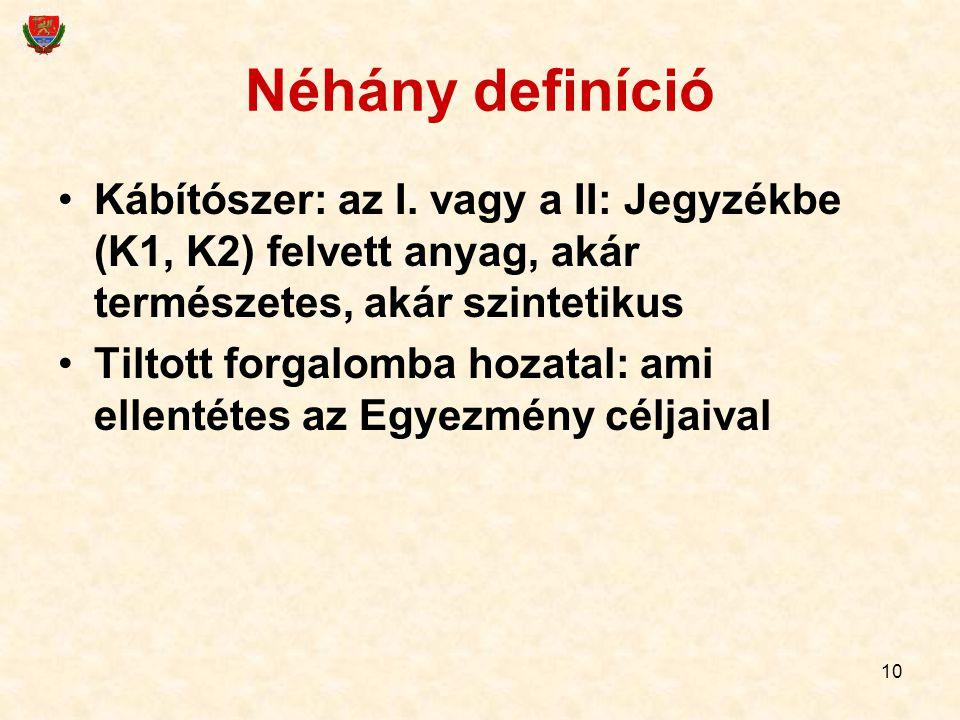 10 Néhány definíció Kábítószer: az I. vagy a II: Jegyzékbe (K1, K2) felvett anyag, akár természetes, akár szintetikus Tiltott forgalomba hozatal: ami