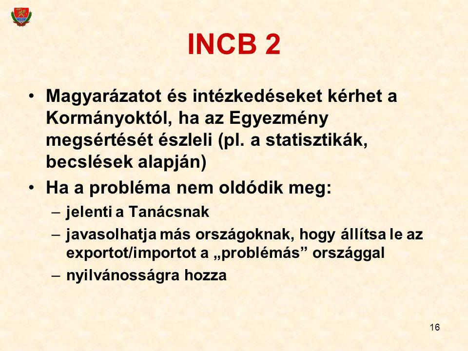 16 INCB 2 Magyarázatot és intézkedéseket kérhet a Kormányoktól, ha az Egyezmény megsértését észleli (pl. a statisztikák, becslések alapján) Ha a probl