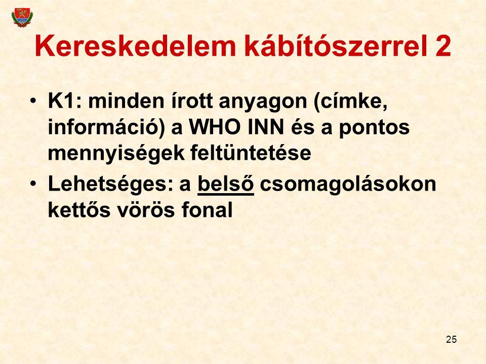 25 Kereskedelem kábítószerrel 2 K1: minden írott anyagon (címke, információ) a WHO INN és a pontos mennyiségek feltüntetése Lehetséges: a belső csomag