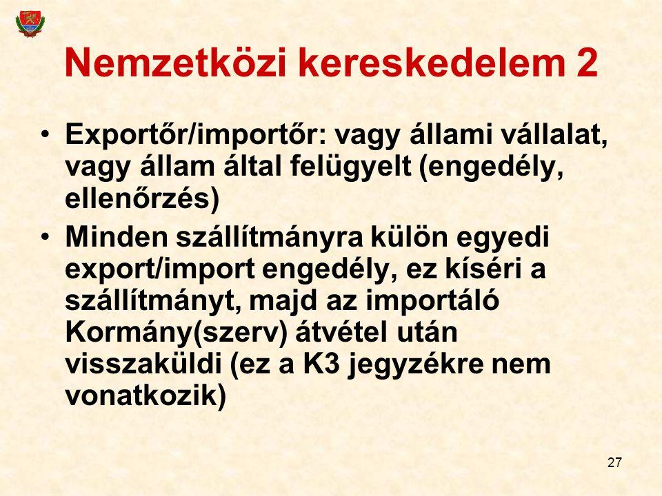 27 Nemzetközi kereskedelem 2 Exportőr/importőr: vagy állami vállalat, vagy állam által felügyelt (engedély, ellenőrzés) Minden szállítmányra külön egy