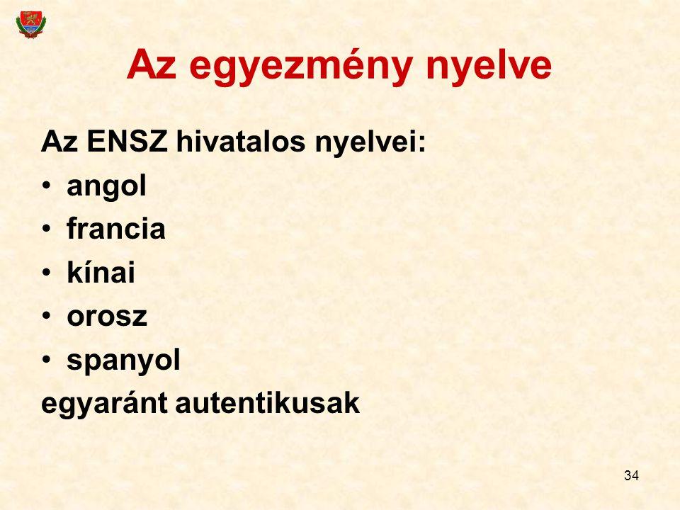 34 Az egyezmény nyelve Az ENSZ hivatalos nyelvei: angol francia kínai orosz spanyol egyaránt autentikusak
