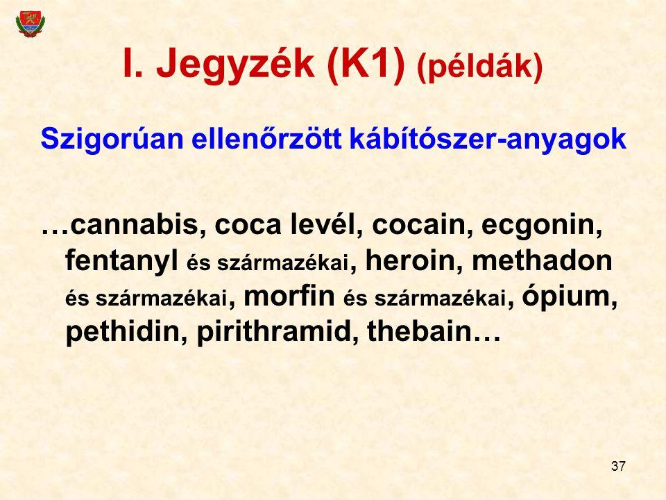 37 I. Jegyzék (K1) (példák) Szigorúan ellenőrzött kábítószer-anyagok …cannabis, coca levél, cocain, ecgonin, fentanyl és származékai, heroin, methadon
