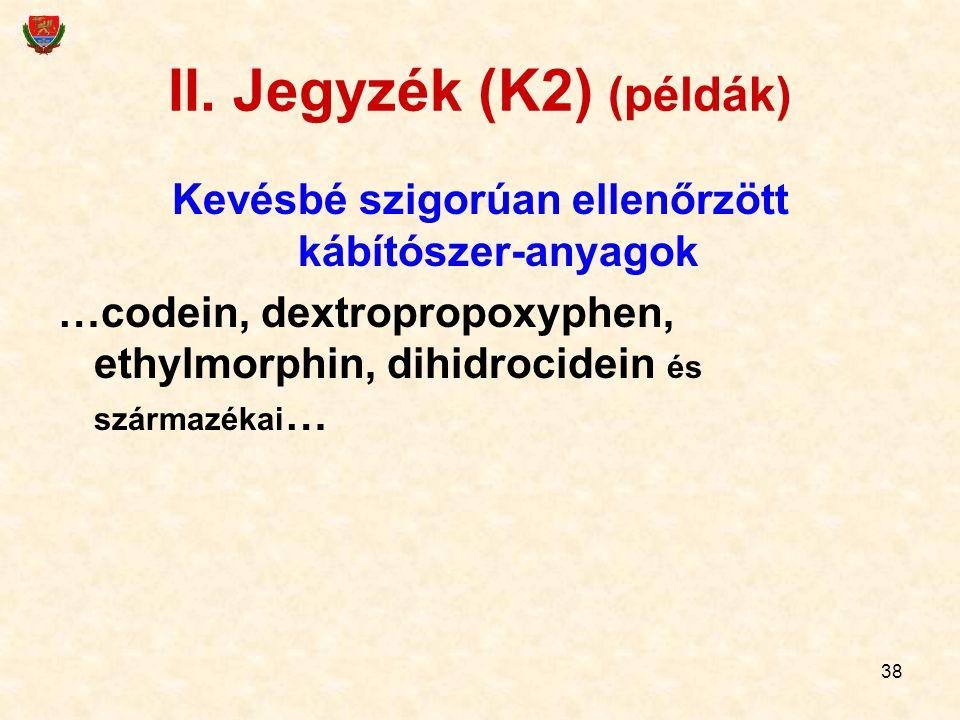 38 II. Jegyzék (K2) (példák) Kevésbé szigorúan ellenőrzött kábítószer-anyagok …codein, dextropropoxyphen, ethylmorphin, dihidrocidein és származékai …
