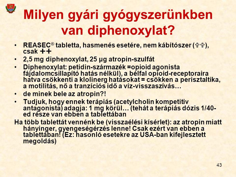 43 Milyen gyári gyógyszerünkben van diphenoxylat? REASEC ® tabletta, hasmenés esetére, nem kábítószer (  ), csak  2,5 mg diphenoxylat, 25 μg atrop