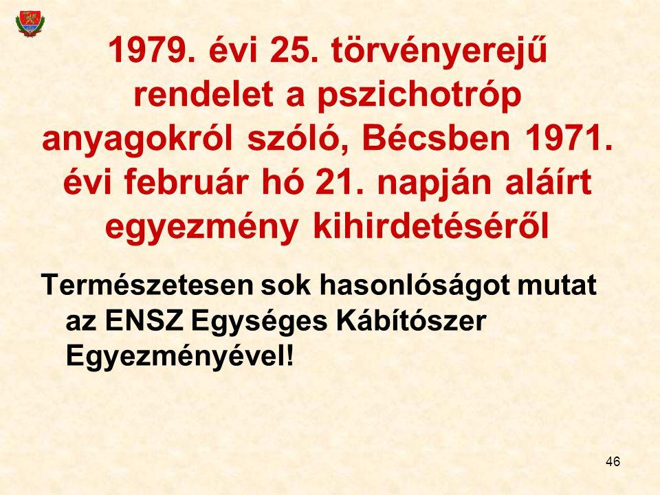 46 1979. évi 25. törvényerejű rendelet a pszichotróp anyagokról szóló, Bécsben 1971. évi február hó 21. napján aláírt egyezmény kihirdetéséről Termész