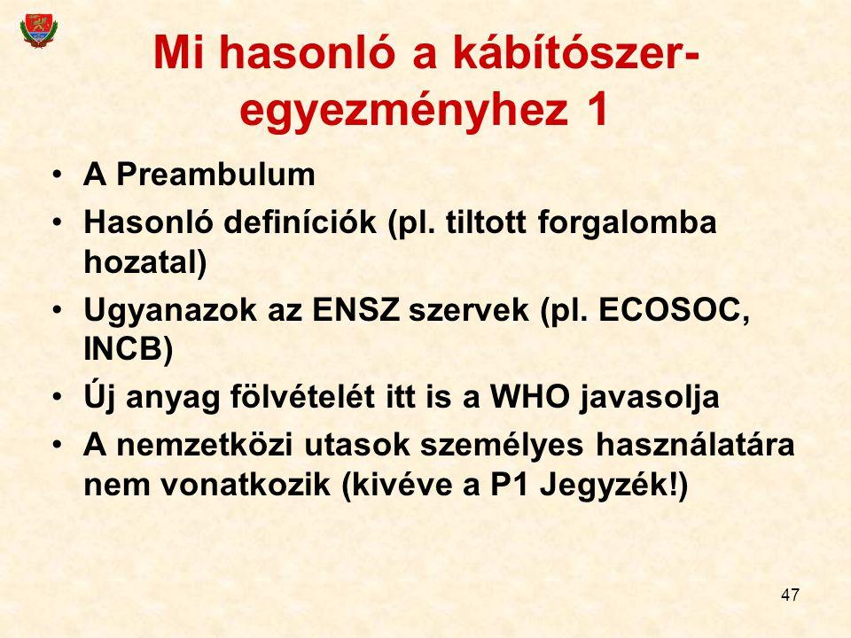 47 Mi hasonló a kábítószer- egyezményhez 1 A Preambulum Hasonló definíciók (pl. tiltott forgalomba hozatal) Ugyanazok az ENSZ szervek (pl. ECOSOC, INC